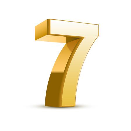 number 7: 3d shiny golden number 7 on white background Illustration