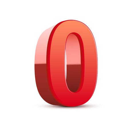 3d glanzend rood nummer 0 op een witte achtergrond