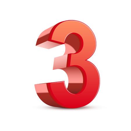3d glänzenden roten Nummer 3 auf weißem Hintergrund
