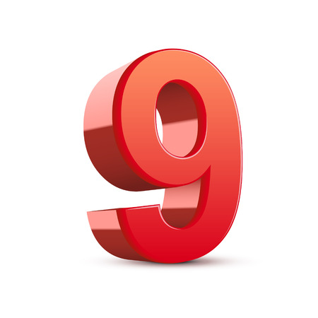 3d shiny red number 9 on white background Vector