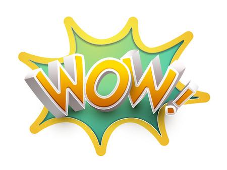 wow: Color de dibujos animados 3D wow aislado más de fondo blanco