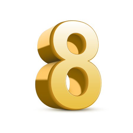 number eight: 3d shiny golden number 8 on white background