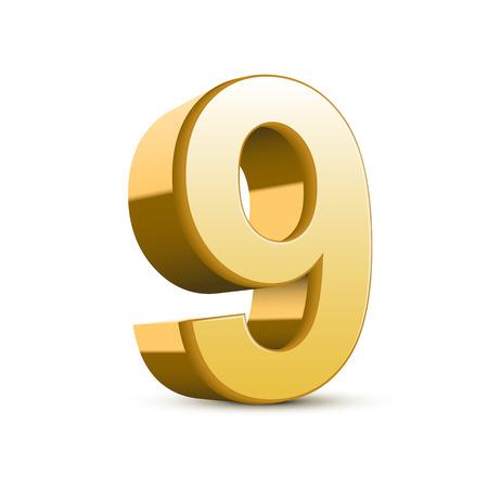 3d shiny golden number 9 on white background