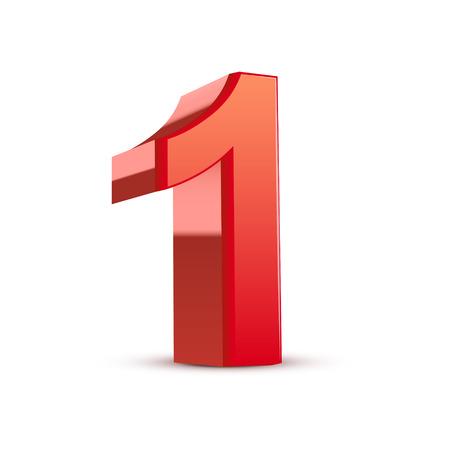3 d 光沢のある赤ナンバー 1 白い背景の上  イラスト・ベクター素材