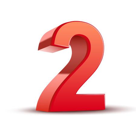 3d glänzenden roten Nummer 2 auf weißem Hintergrund