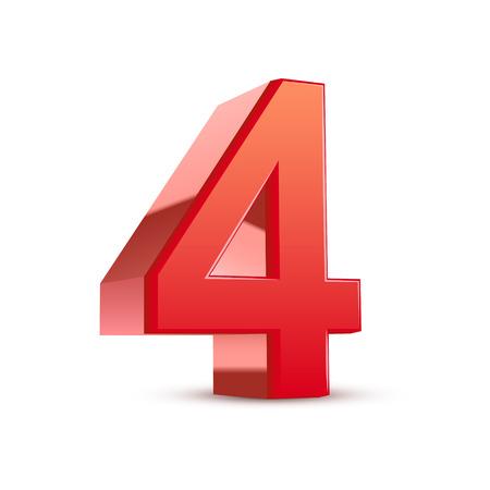 3d glanzend rood nummer 4 op een witte achtergrond