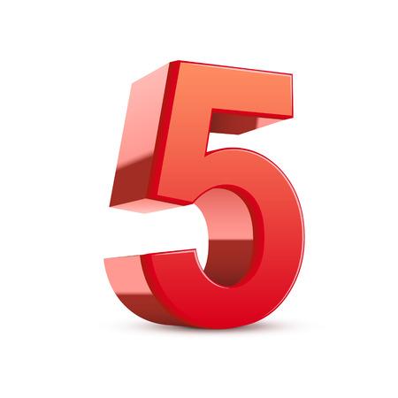 3d glanzende rode nummer 5 op witte achtergrond Stock Illustratie