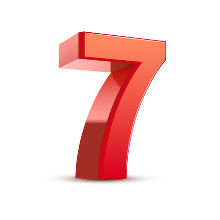 digital numbers: 3d shiny red number 7 on white background