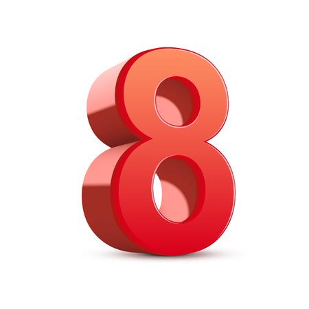 白い背景の 3 d 光沢のある赤ナンバー 8  イラスト・ベクター素材
