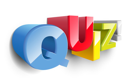 3d word Quiz to illustrate an exam, evaluation or assessment to measure your knowledge or expertise  Ilustração