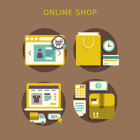flat design concept with icons of buying product via online shop ideas symbol and shopping elements Vector