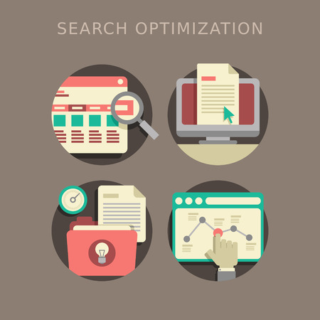 flat design of the SEO website searching optimization process Vector