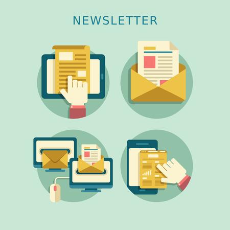 concepto de diseño plano de publicaciones de noticias distribuidas regularmente por correo electrónico con algunos temas de interés para sus suscriptores