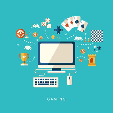 płaska ikony koncepcję gry komputerowe dla interfejsu