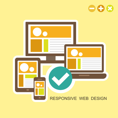any: flat design concept of fully responsive user interface on any device