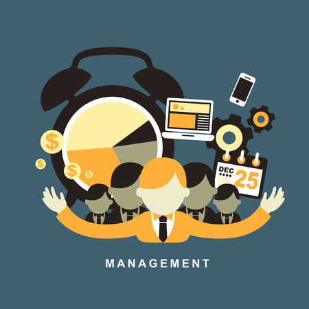 office stuff: flat design concept of business management or finance workflow theme