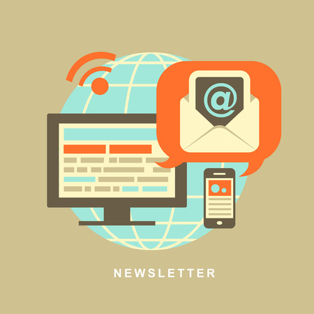 periodical: flat design concept of regularly distributed news publication via e-mail with some topics of interest to its subscribers