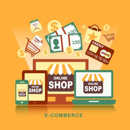 Concepto de diseño plano con iconos de productos de compra a través de la tienda en línea y el comercio electrónico símbolo de ideas y elementos comerciales Ilustración de vector
