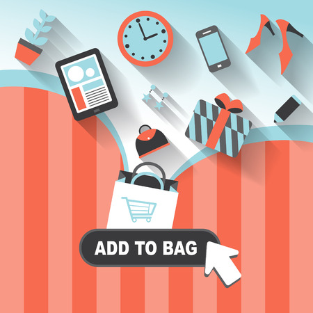 online purchase: flat design style concept of add to bag