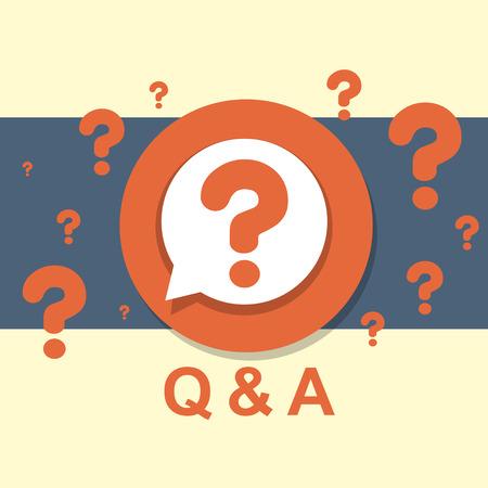signo de interrogaci�n: dise�o plano concepto de Q & A de preguntas y respuestas