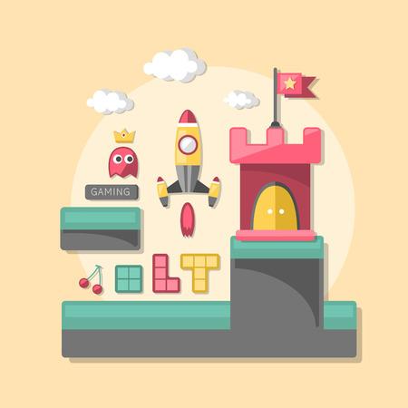 indie: Iconos del dise�o plano concepto de juegos de ordenador para interfaz