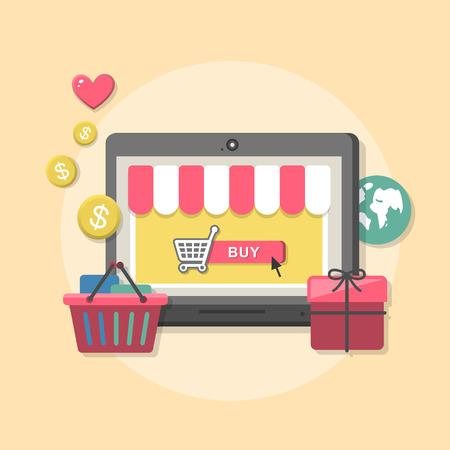 온라인 상점 아이디어 기호와 쇼핑 요소를 통해 구매 제품의 아이콘 플랫 디자인 컨셉 일러스트