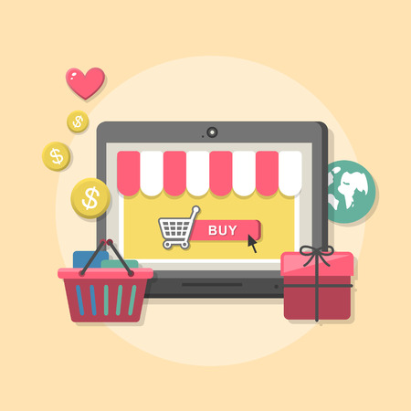 Flat design concept with icons of buying product via online shop ideas symbol and shopping elements Illustration