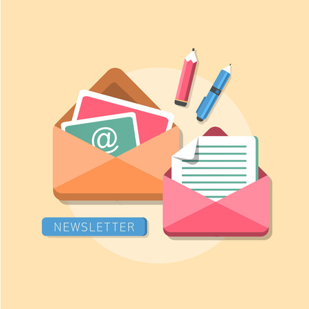 electronic mail: flat design concept of regularly distributed news publication via e-mail with some topics of interest to its subscribers