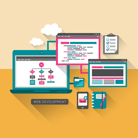 prototyping: flat design concept of web programming development Illustration