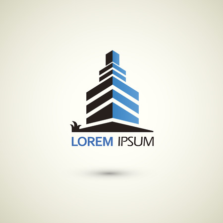 business buildings: real estate logo template over white background Illustration