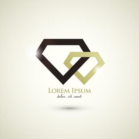 moda de luxo diamante conceito logotipo modelo abstrato Ilustração