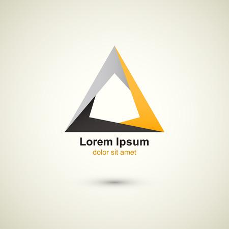 tecnologia criativa vetor logotipo modelo tri�ngulo abstrato Ilustração