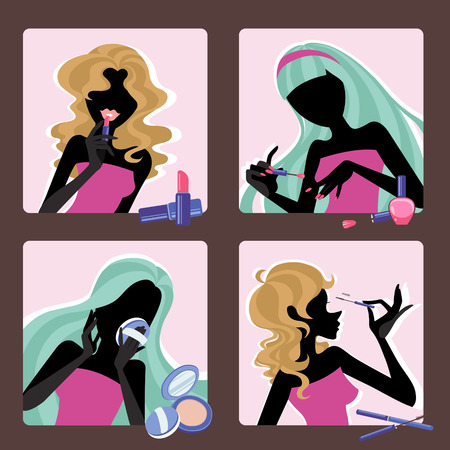 vector silhouette illustration set of girls with cosmetic
