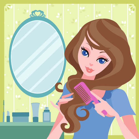 vector illustration of young girl combing her hair Illustration