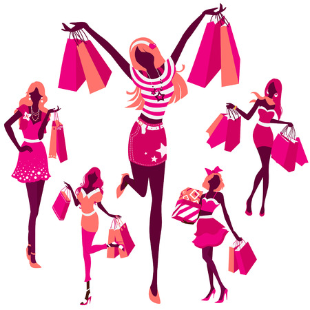 holiday shopping: silhouette illustration set of  of girls with shopping bags