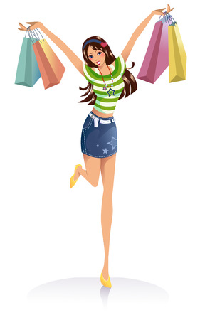 gift bags: young fashion girl with shopping bags over white background Illustration