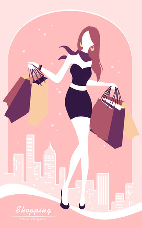 vector background with fashion girl and shopping bags Vector