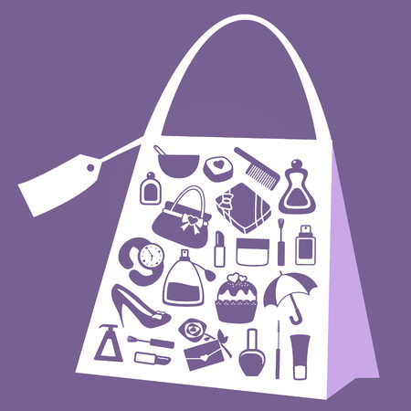 purple modern vector women accessories icon set Vector