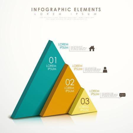 現代ベクトル抽象的なカラフルな三角形のインフォ グラフィックの要素