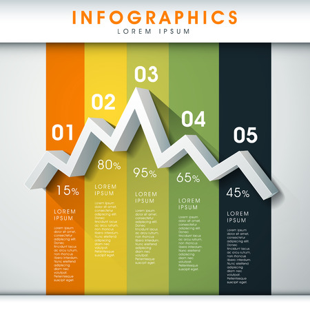 modern vector abstract line chart infographic elements Vector