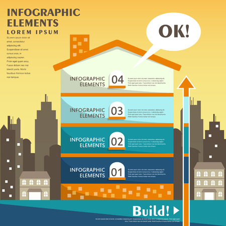 flat design vector abstract house infographic elements Illustration