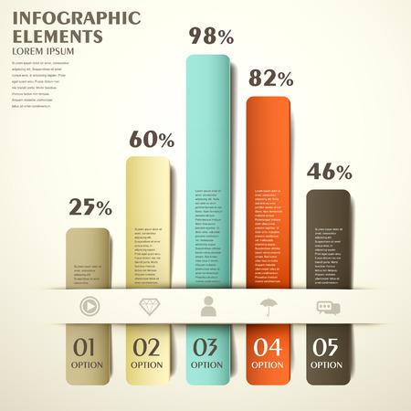 kleurrijke staafdiagram vector abstracte infographic elementen