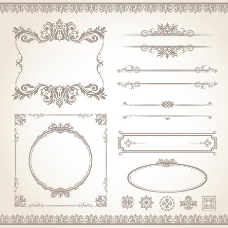 古典的な古いスタイルのベクトル ビンテージ フレーム セット  イラスト・ベクター素材