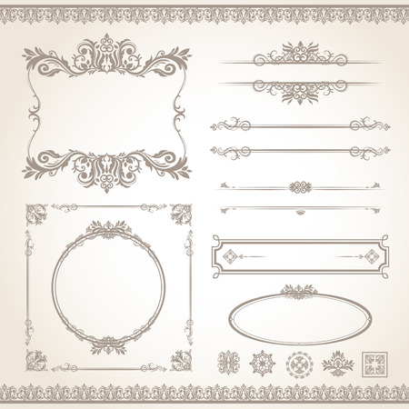 vintage frame vector: classic old style vector vintage frame set Illustration
