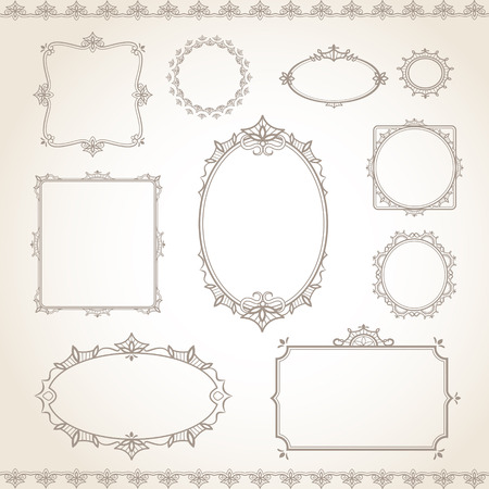 page borders: classic old style vector vintage frame set Illustration