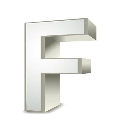 3d word: 3d silver letter F isolated white background