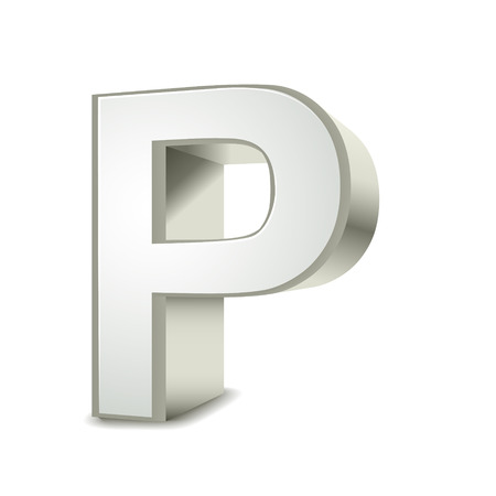 3d word: 3d silver letter P isolated white background