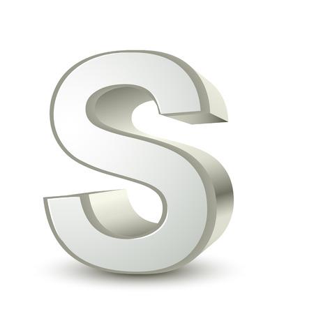 lettre s: Fond blanc isol� lettre d'argent 3d de