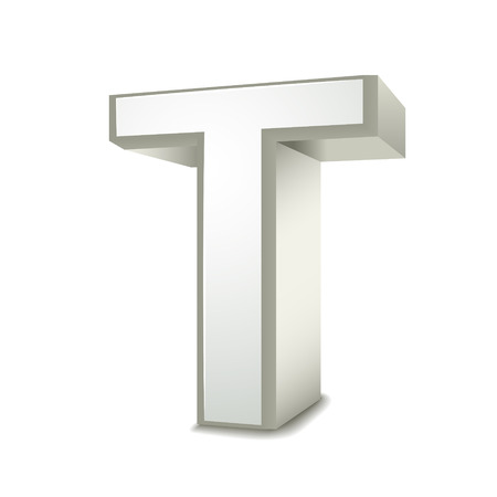 isolated on white background: 3d silver letter T isolated white background