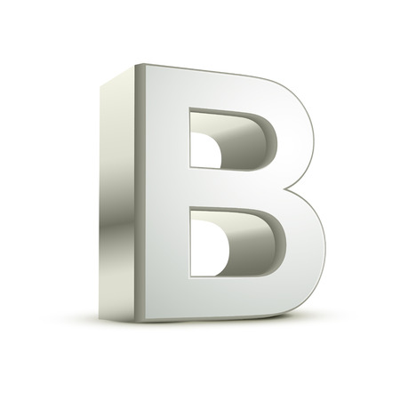 3d silver letter B isolated white background